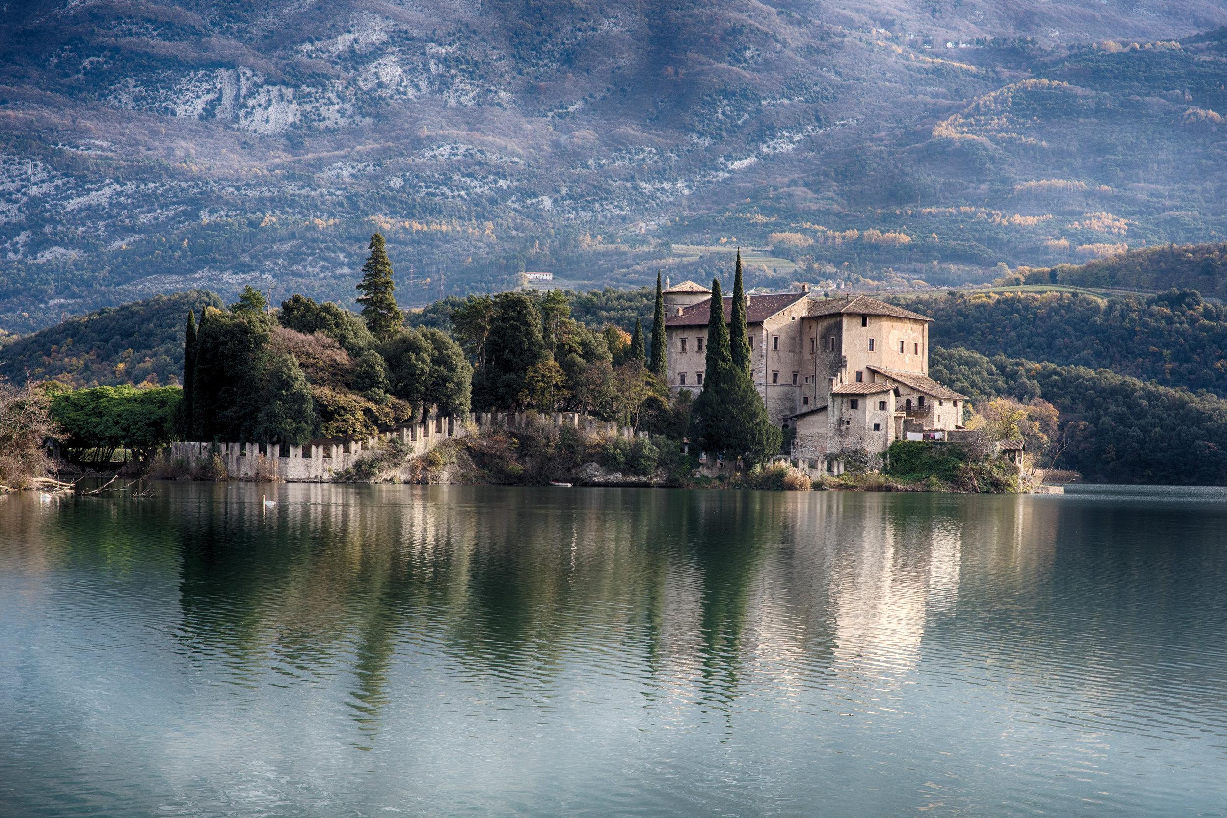 toblino castle view on winter day