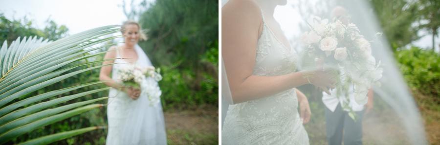 palm tree wedding portrait