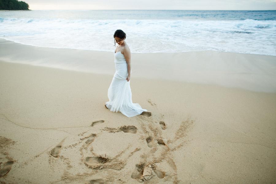kauai beach bridal portait