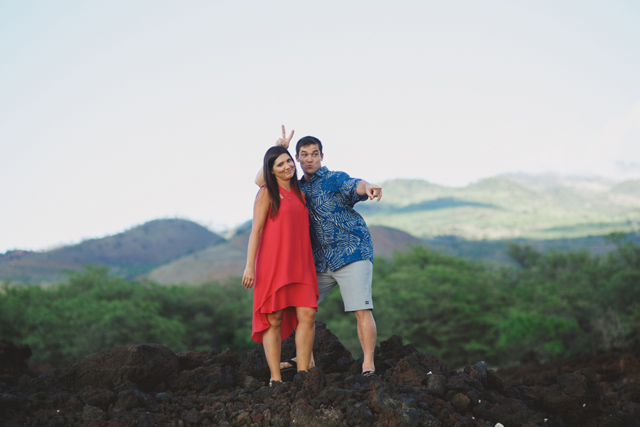 silly maui engagement photo