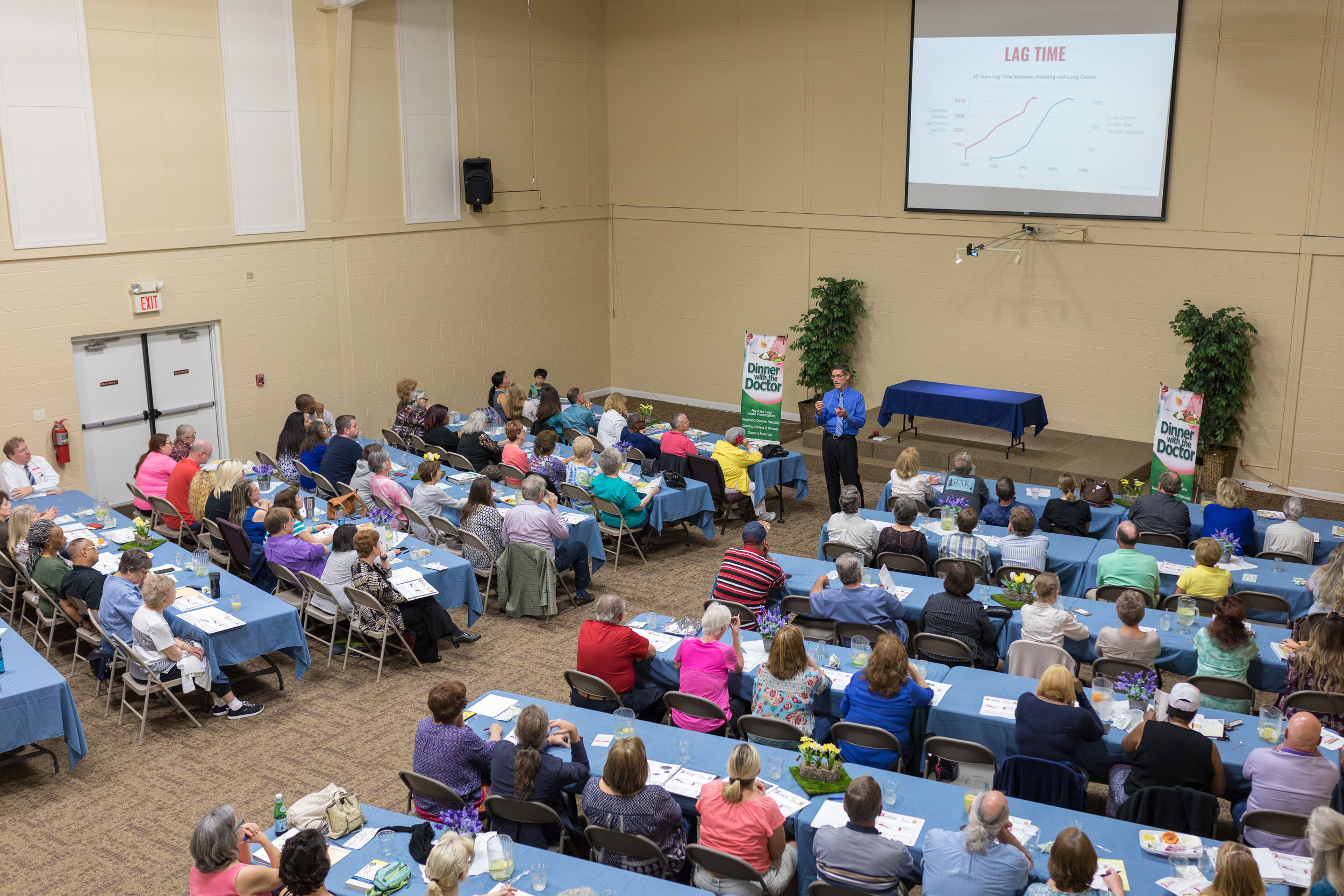 Michael C. Hollie '85 presents at a Dinner with the Doctor program at the East Ridge Seventh-day Adventist Church in Tennessee. The program promotes a whole-food, plant-based diet to treat, prevent, and reverse disease. (Photos contributed by Dr. Hollie.)