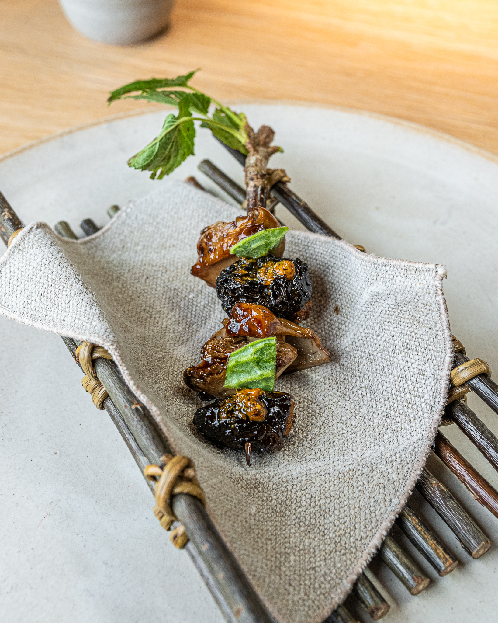 Wild Mushrooms Barbequed with Pine
