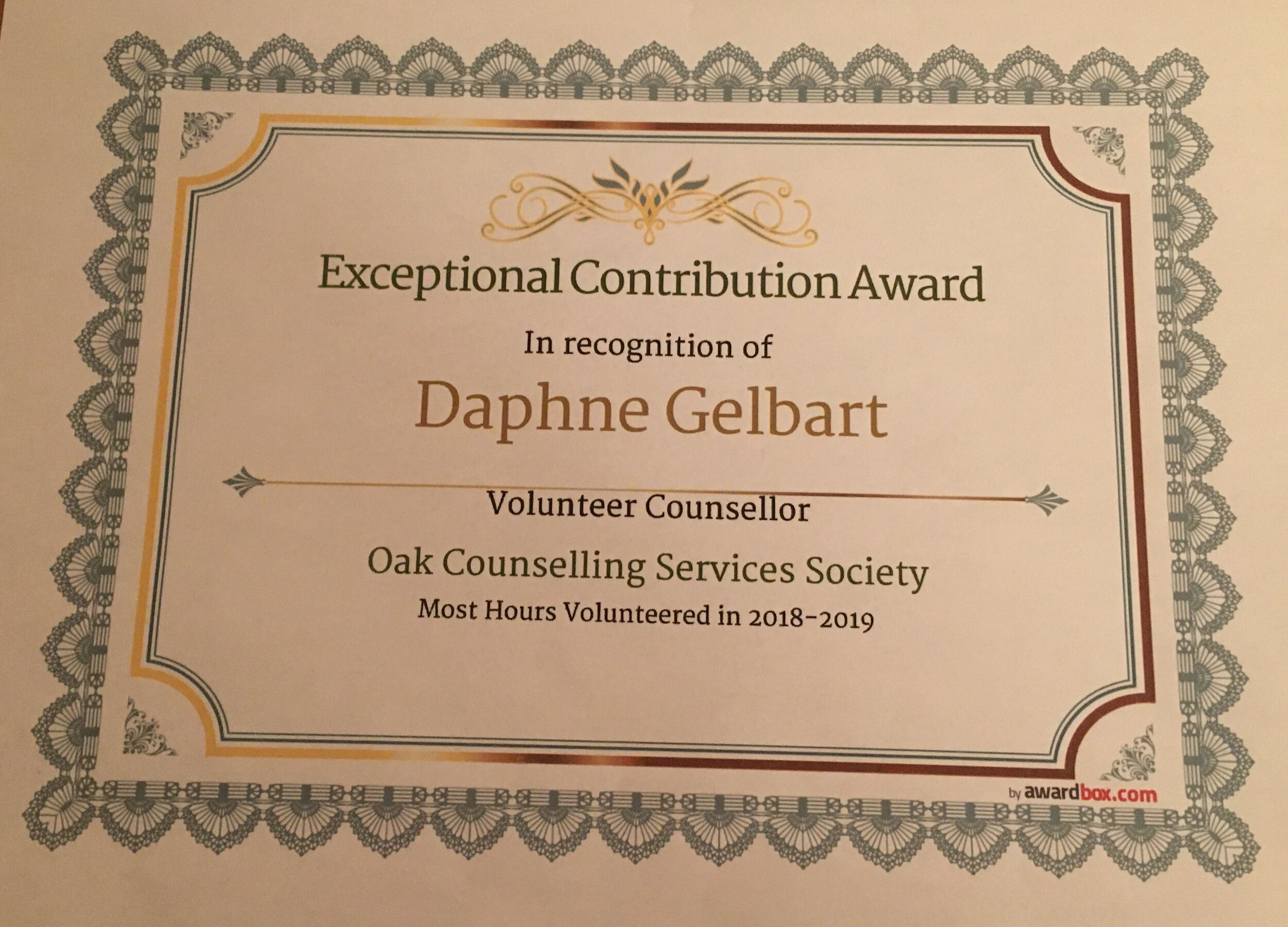 - In 2019 Daphne received a counselling volunteer award from Oak Counselling.