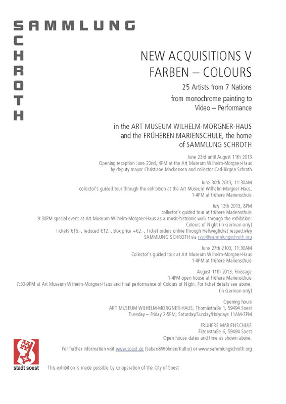 FRANK GERRITZ ARTWORK FEATURED IN FARBEN – COLOURS - AT THE ART MUSEUM-WILHELM-MORGNER-HAUS