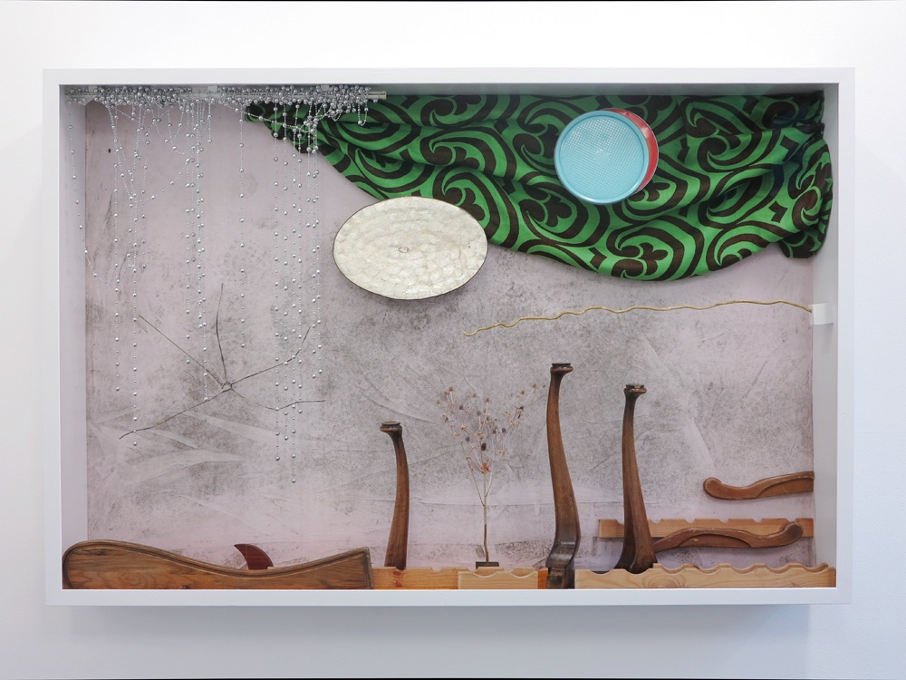 Pearlm Spring, 2017, Found objects and glass case, 165 x 220 x 27 cm