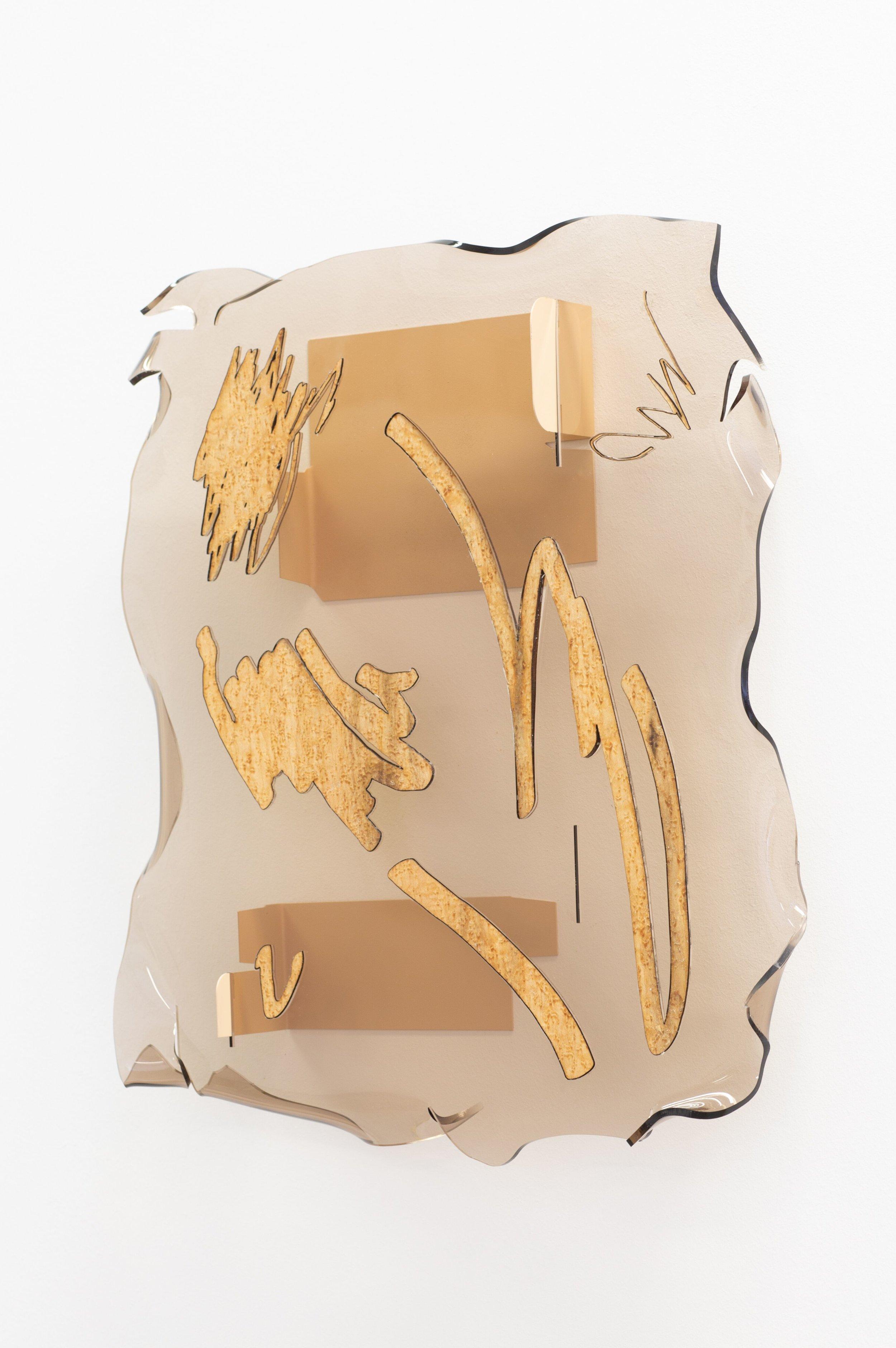 HANNAH SOPHIE DUNKELBERG, RSVP, 2019, ACRYL GLASS, VENEER, 60 X 30 X 7 CM, 23.6 X 11.82 X 2.75 IN