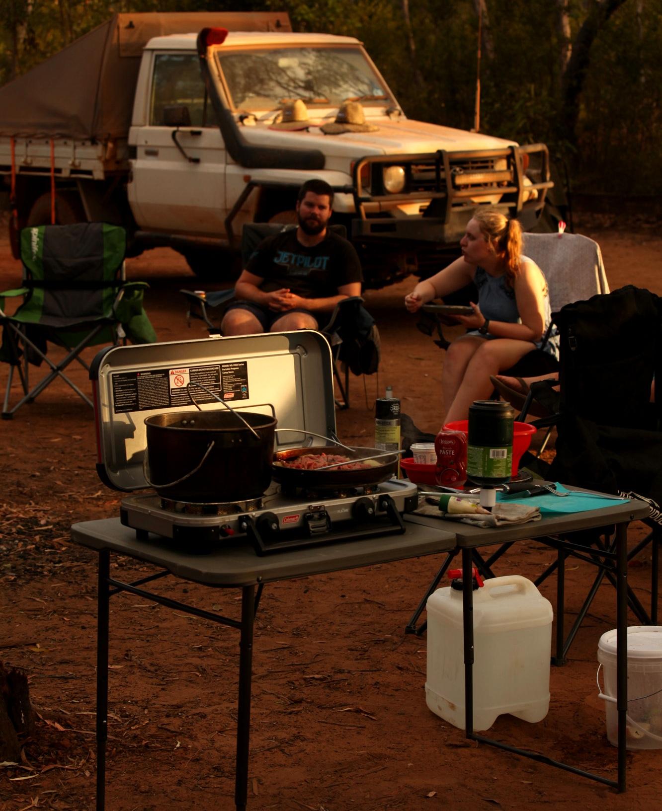 Evening camp kitchen setup.