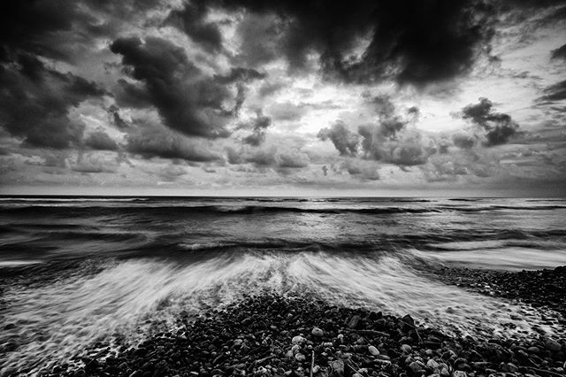 Sunny and beautiful surfing gave way to moody skies and turbulent ocean. Mexico, November 2015 #mexico #surftrip #blackandwhite