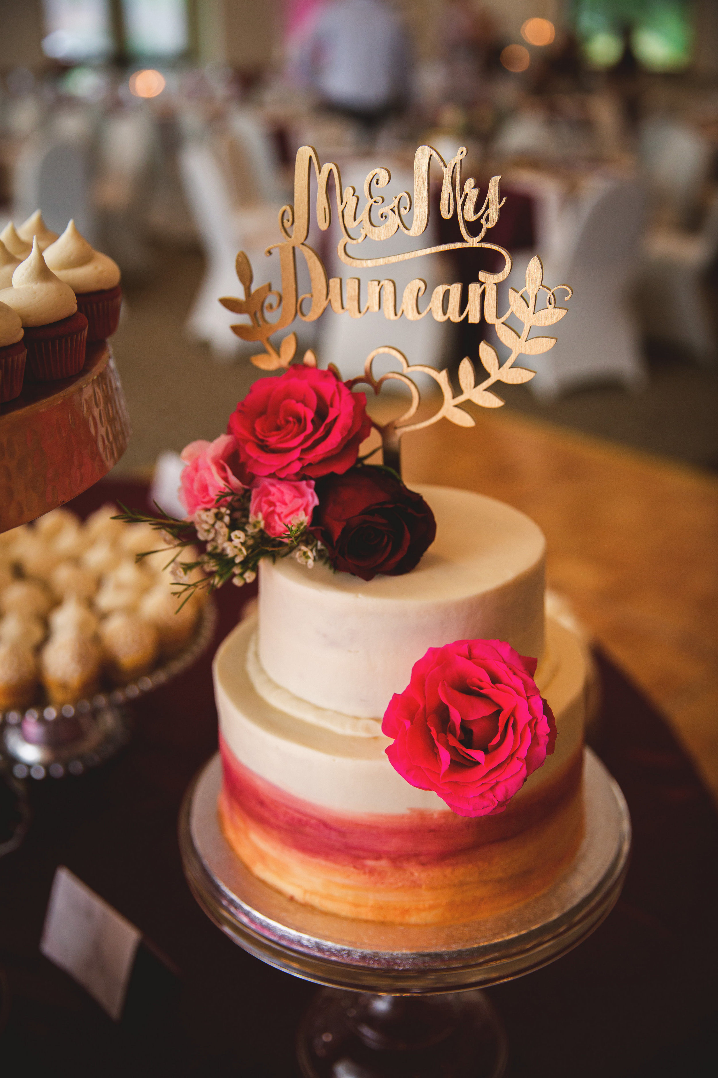 Wine and Gold Wedding Cake
