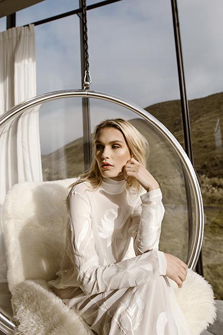 Ivory silk chiffon a line wedding gown by Australian modern bridal brand L'eto Bridal