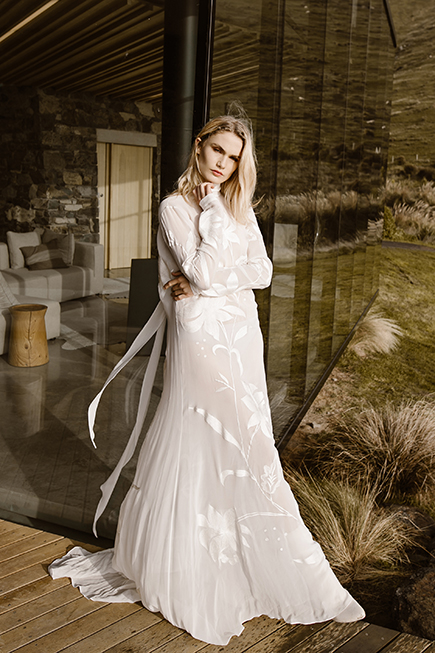 Modern chiffon flowy wedding dress with high collar and long sleeves
