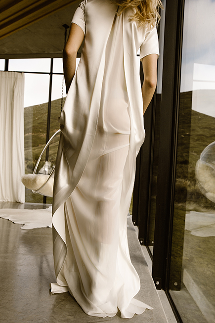 Back slit wedding gown by L'eto Bridal