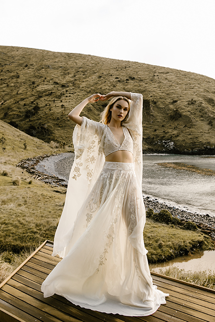 romantic bridal set of a wedding skirt and a crop top and a loose throw by Australian L'eto Bridal brand