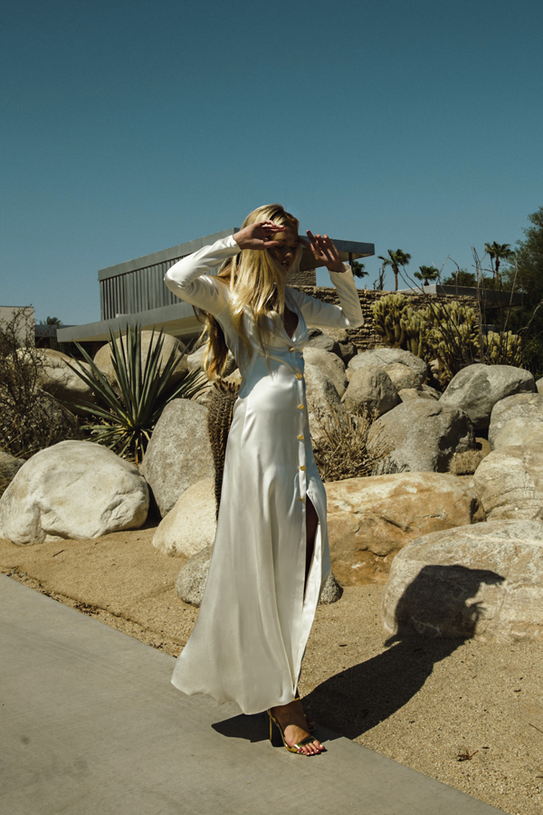 Piece 11 | Silk satin button up dress with long sleeeves by L'eto Bridal