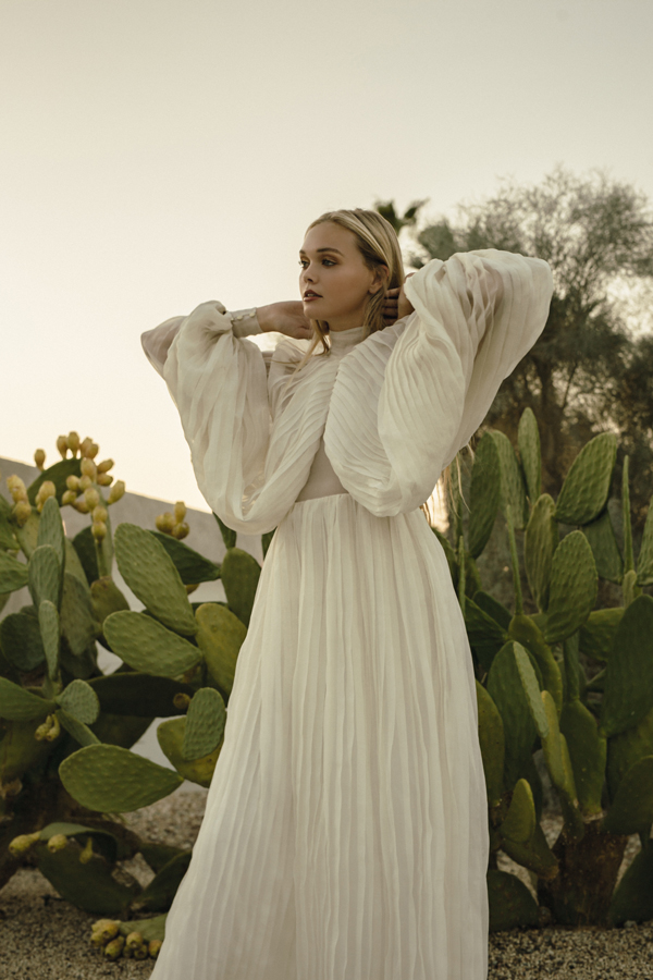 Piece 20 | Pleated wedding dress with large sleeves in silk organza by L'eto Bridal