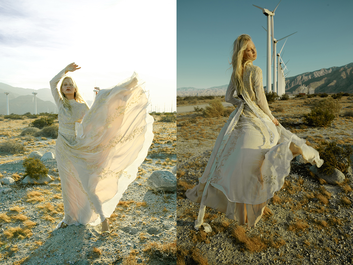 Piece 16 | Golden wedding dress with long sleeves and full skirt by L'eto Bridal