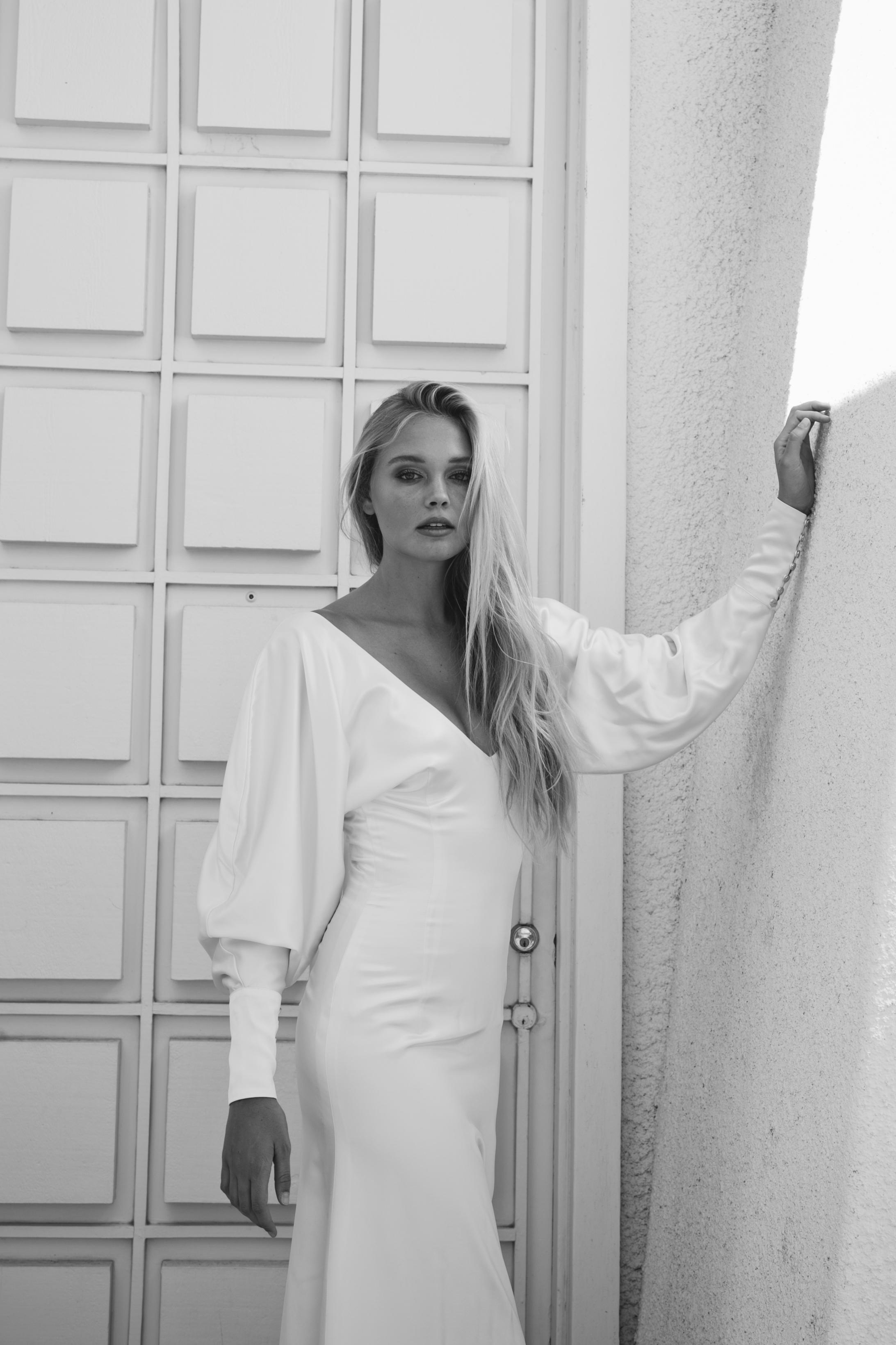 Piece 14 | Silk satin with big sleeves wedding dress by L'eto Bridal