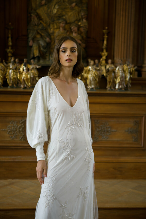 Piece 28 | Embroidered wedding gown with large sleeves by L'eto Bridal