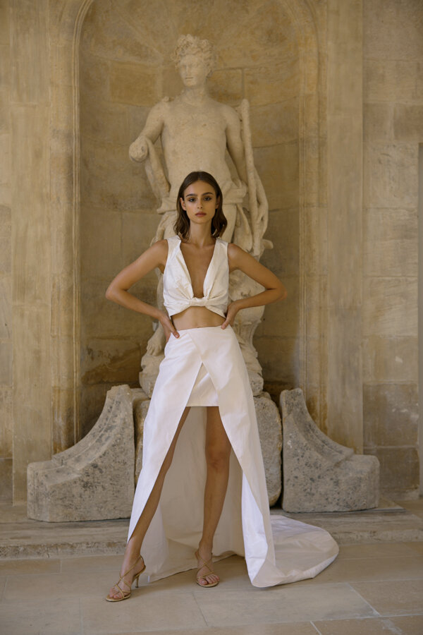 Piece 32 | Two piece weddign dress with a short skirt L'eto Bridal