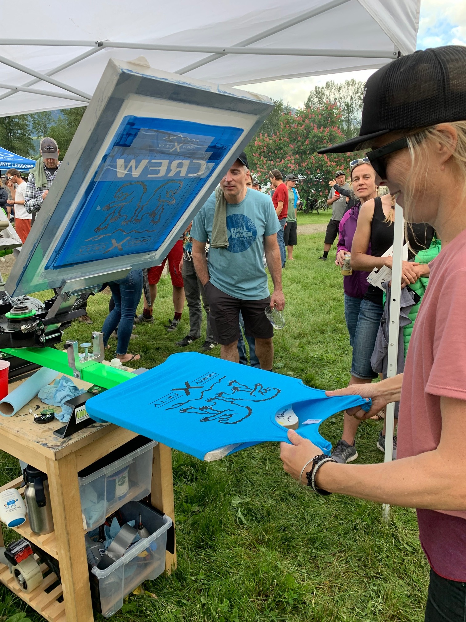 Fun & Interactive - We show up with our Mobile Printing Equipment and print t-shirts, totes, or any other softgoods right on the spot.