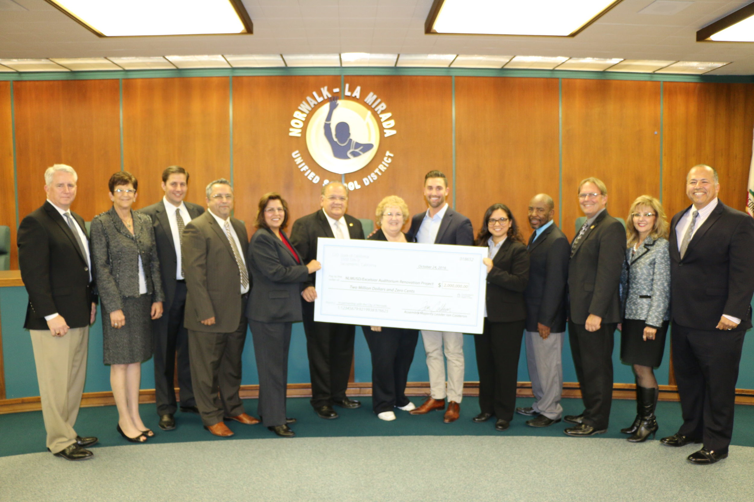 Presenting a grant check to the Norwalk-La Mirada Unified School District to restore the Excelsior High School Auditorium to a modern, accessible joint-use facility for the entire community to enjoy.