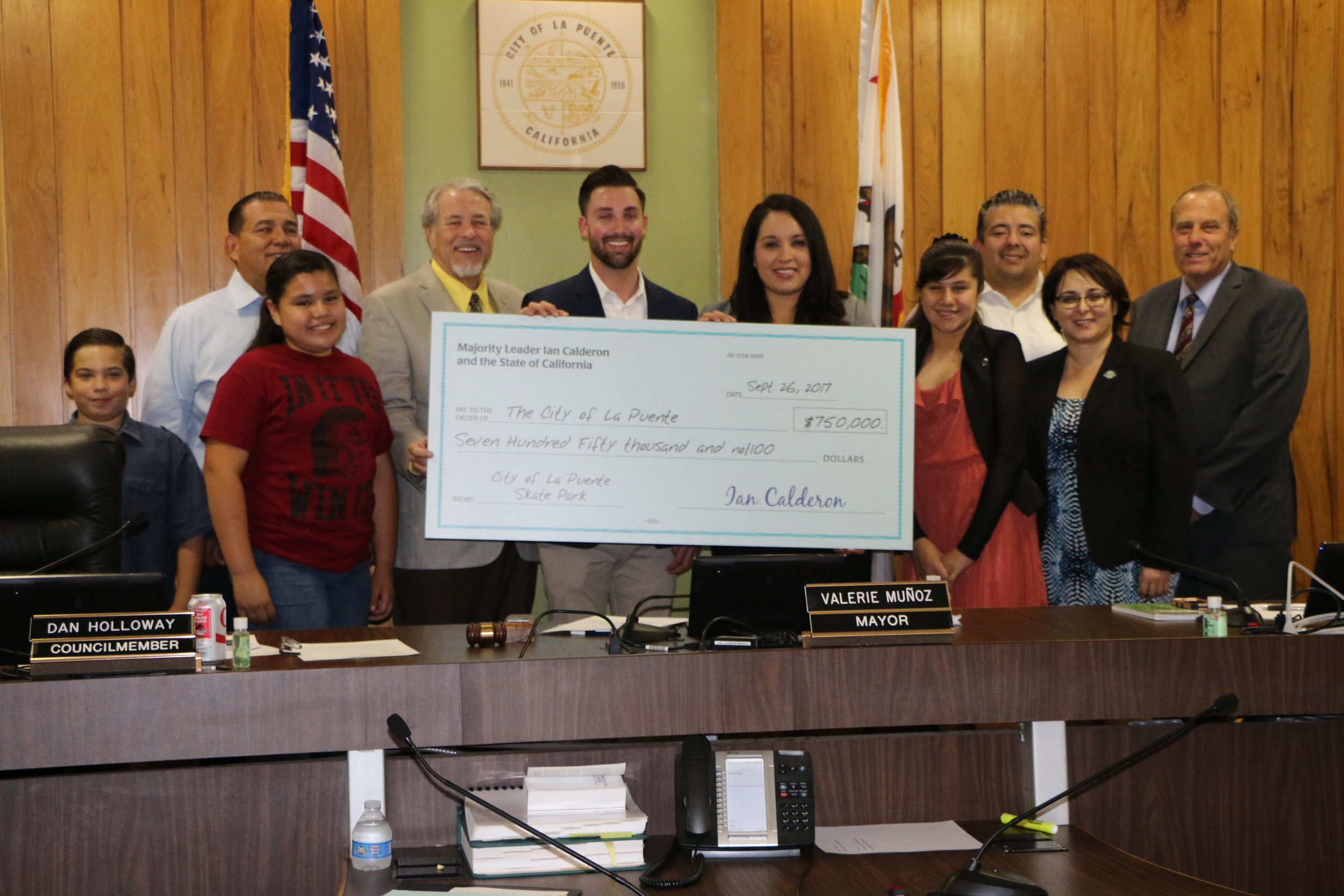 Presenting a grant check from the State of California to the City of La Puente for the new La Puente Skate Park.