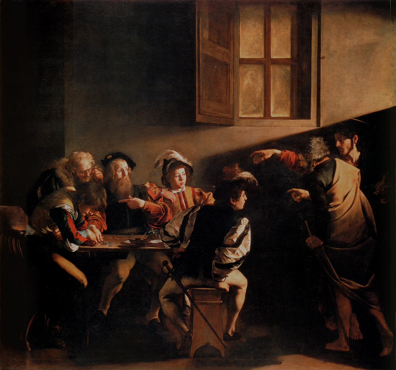 The Calling of Saint Matthew By Caravaggio - SUNY College at Oneonta, NY - via Wikimedia Commons