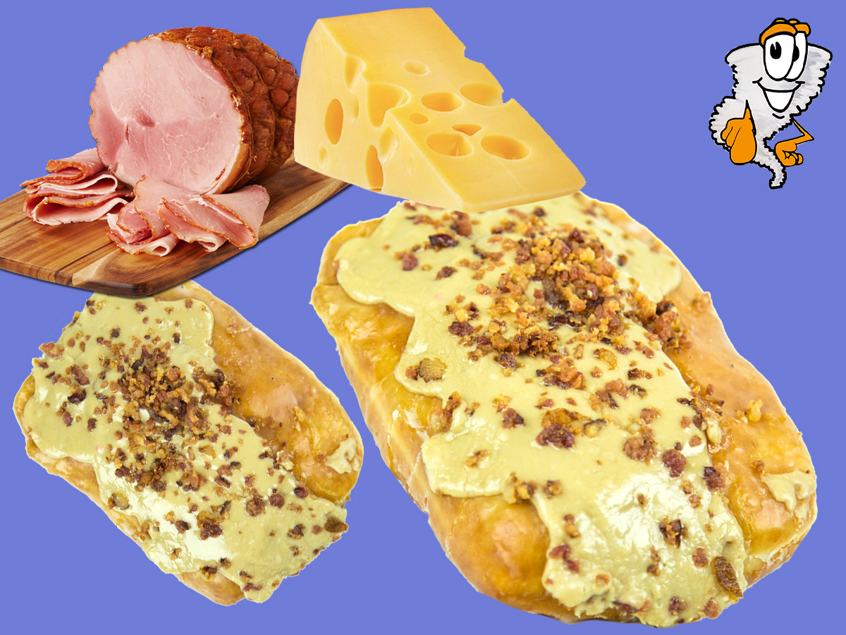 Ham & Cheese - A tasty donut bar covered in Ham & Cheese$3.99 each - $21.99 half dozen - $42.99 dozen