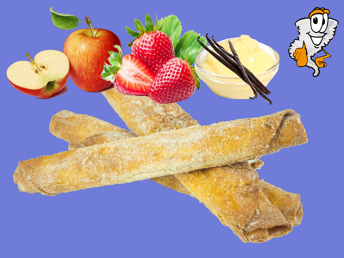 Flautas - Fried flour tortilla with fillings of: apple, strawberry, bavarian cream... coated with cinnamon sugar$1.99 each - dozen $19.99
