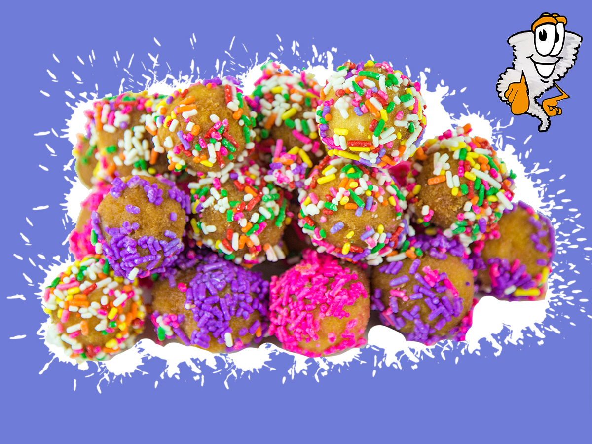 Donut Holes - Chocolate or regular flavor coated with sprinkles or powder sugar - 14 donut holes$2.99 half dozen - $5.75 dozen