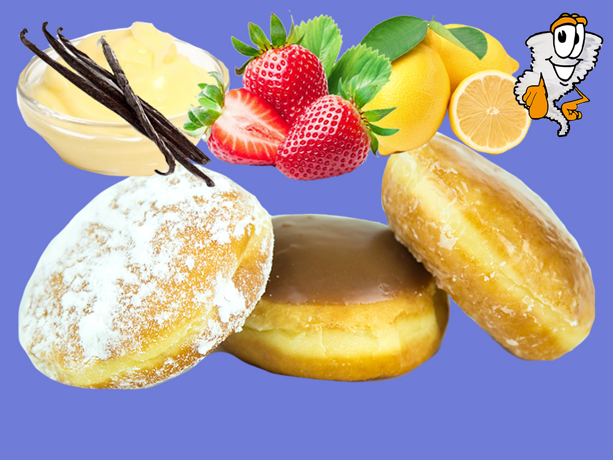 Filled Donuts - Regular donuts filled with bavarian cream, strawberry or lemon filling$1.09 each - $5.75 half dozen - $12.99 dozen - 13.99 super dozen