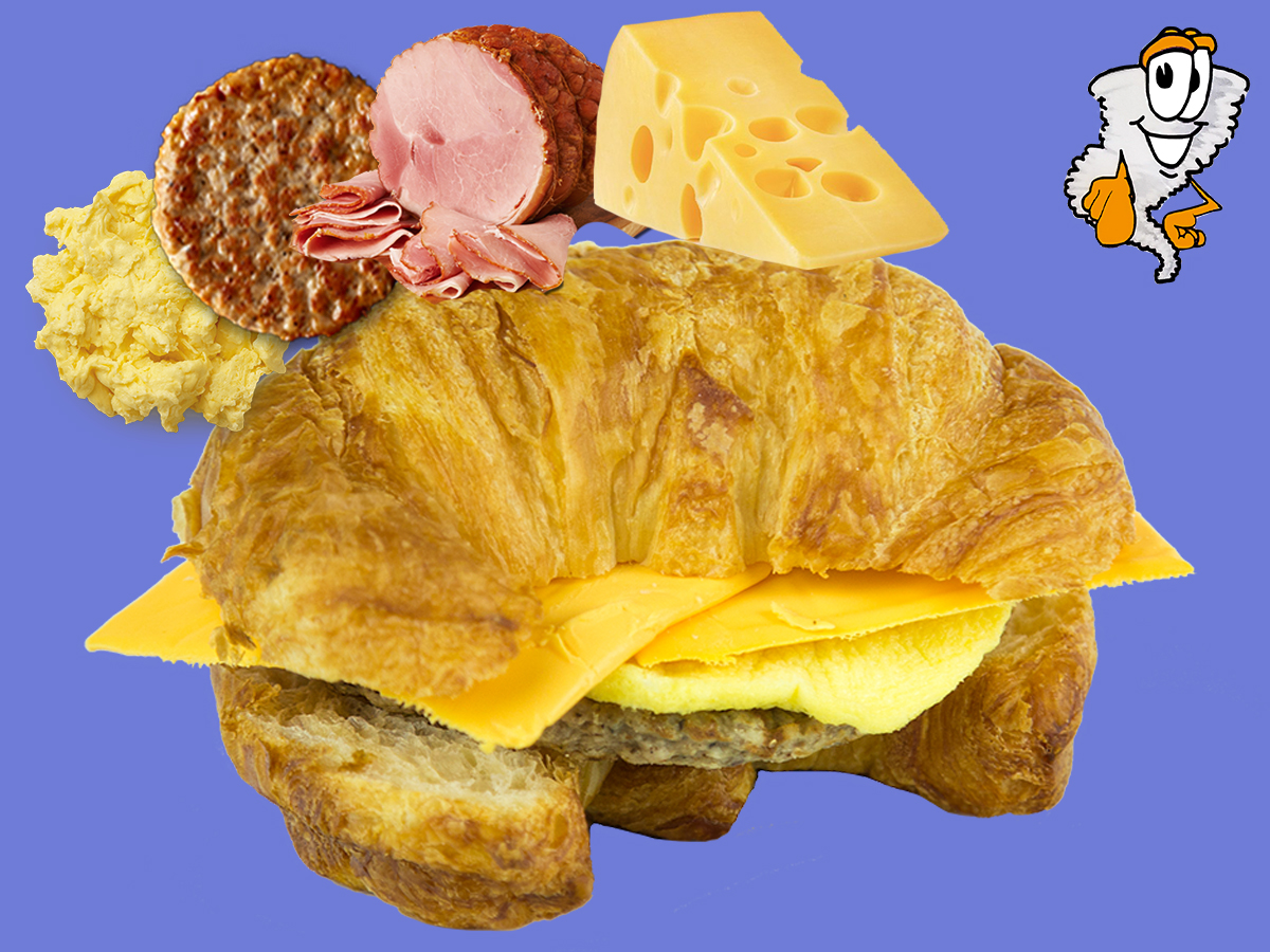Croissant Sandwich - Ham/Sausage, Egg & Cheese$4.99