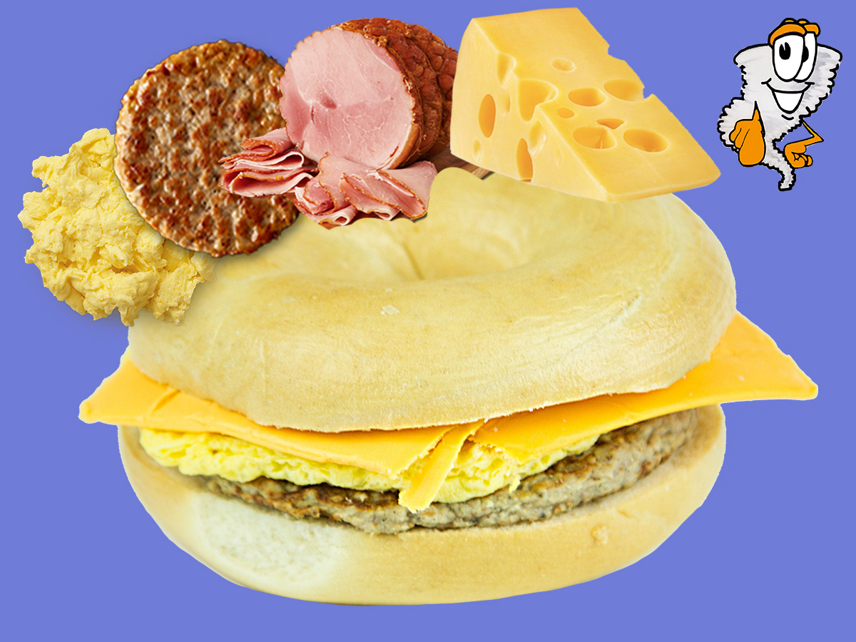 Bagel Sandwich - Ham/Sausage, Egg & Cheese$4.99