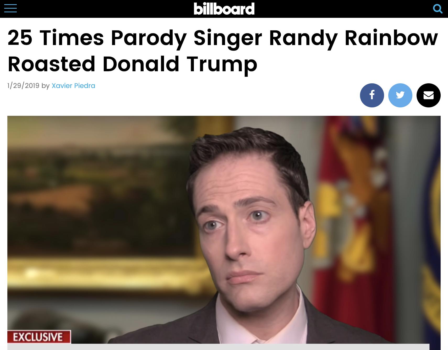 Billboard Randy Rainbow 25 Times Roasted Trump