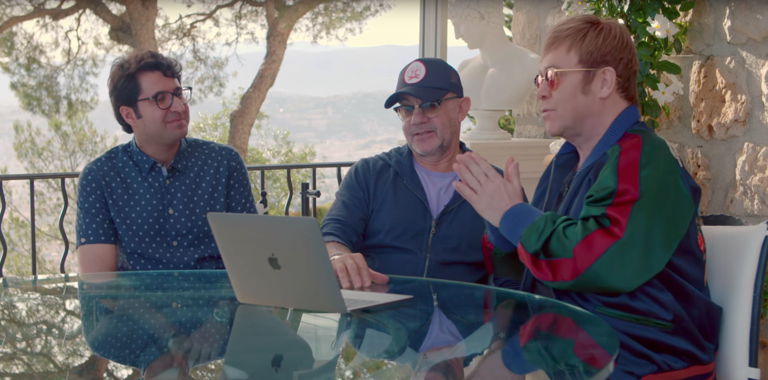 Elton John and Bernie Taupin see Rocket Man for the first time with Majid in Cannes