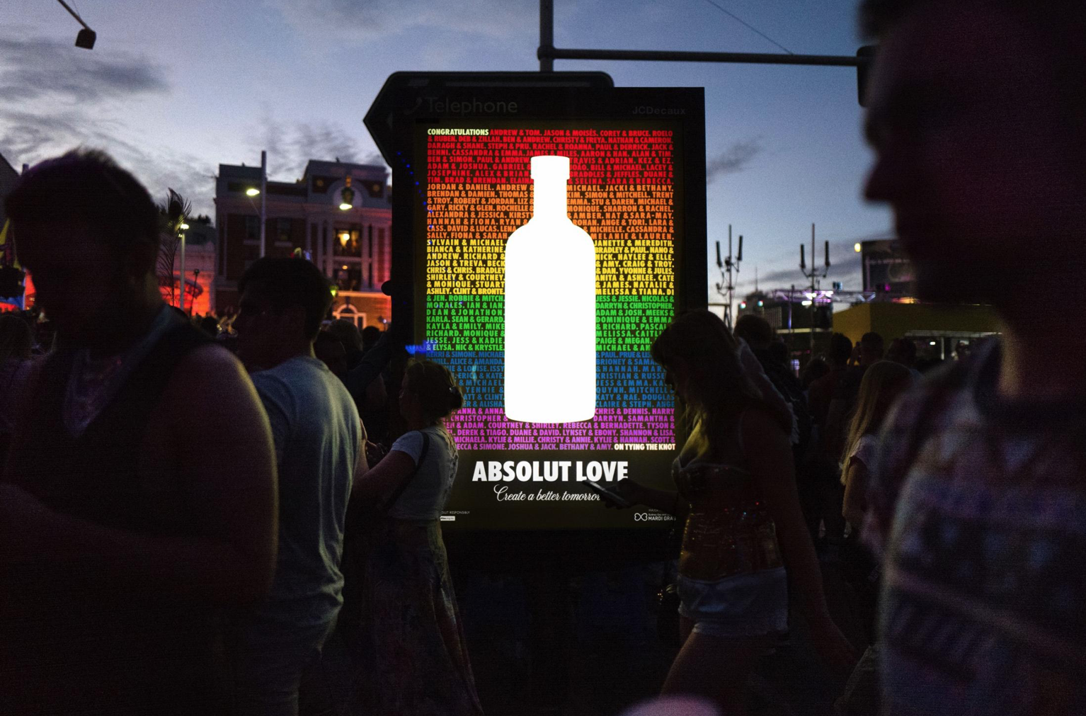 The names of participating couples were featured in billboards throughout the city.