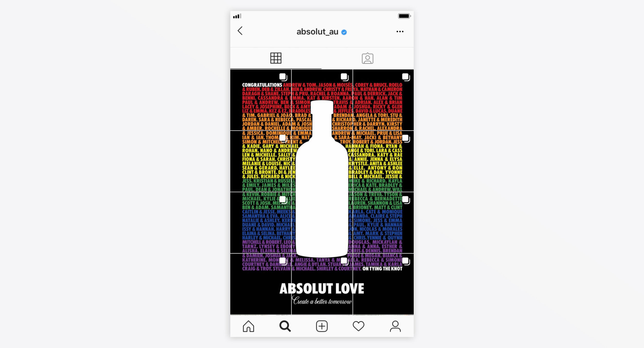 Instagram takeover featuring all the names of participating couples