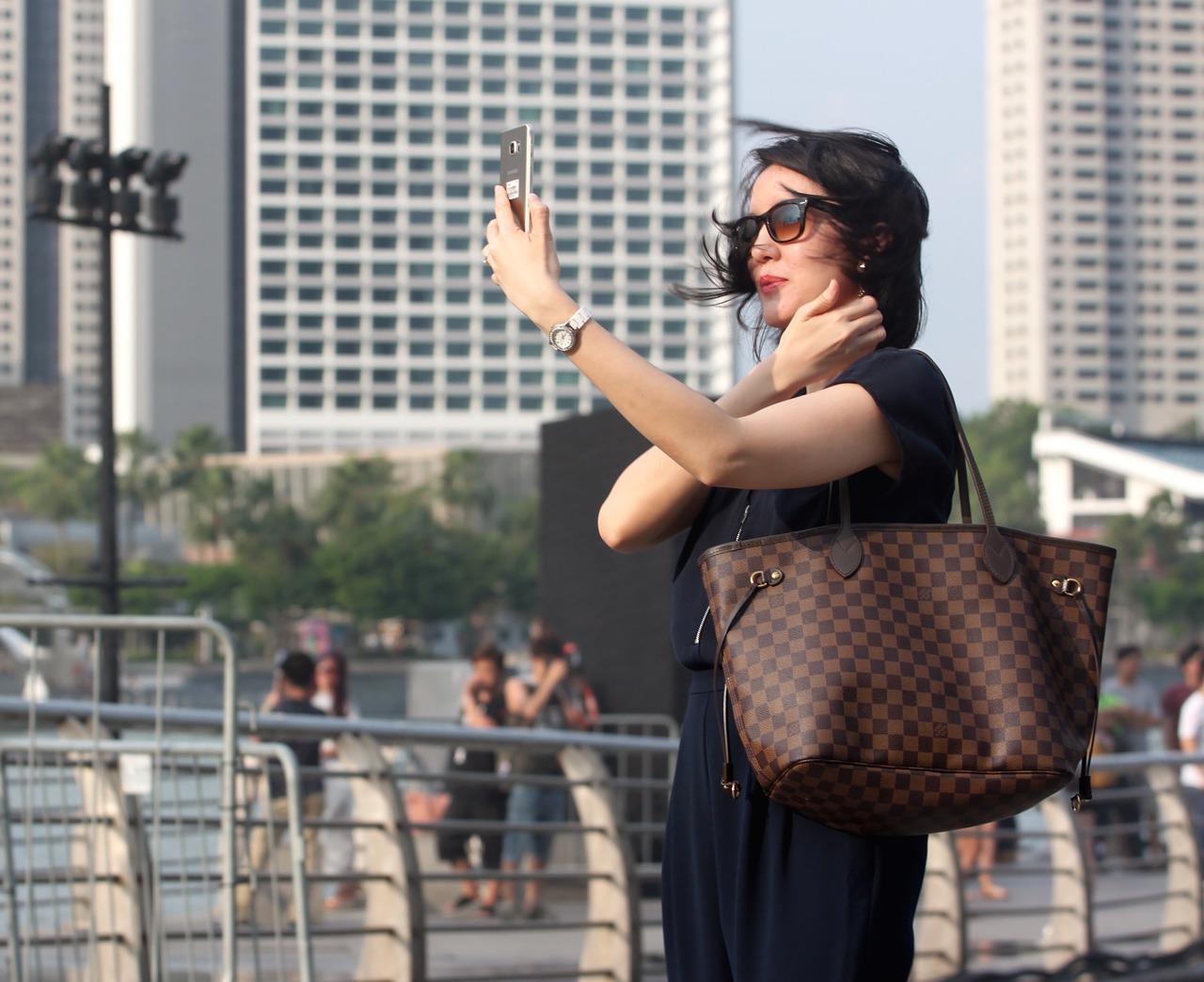 business woman taking selfie