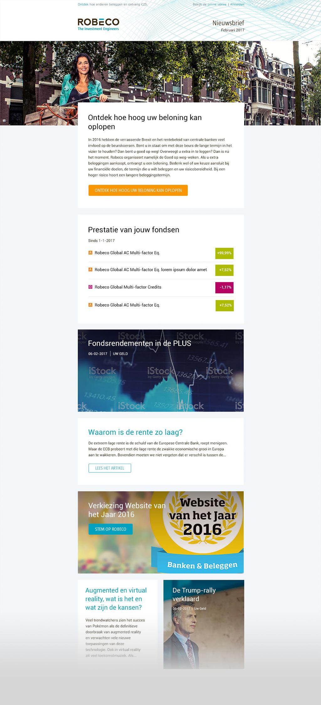 Afbeelding 4 van 6 - Re-design E-mail template - Robeco web + mobile app optimalisaties