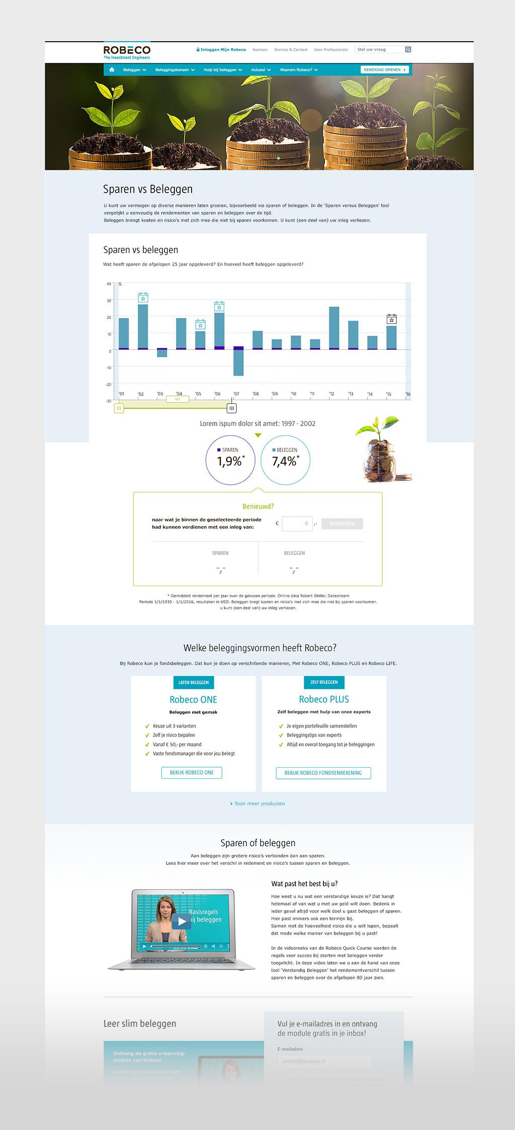 Afbeelding 5 van 6 - Re-design 'Sparen vs Beleggen' Landing page - Robeco web + mobile app optimalisaties