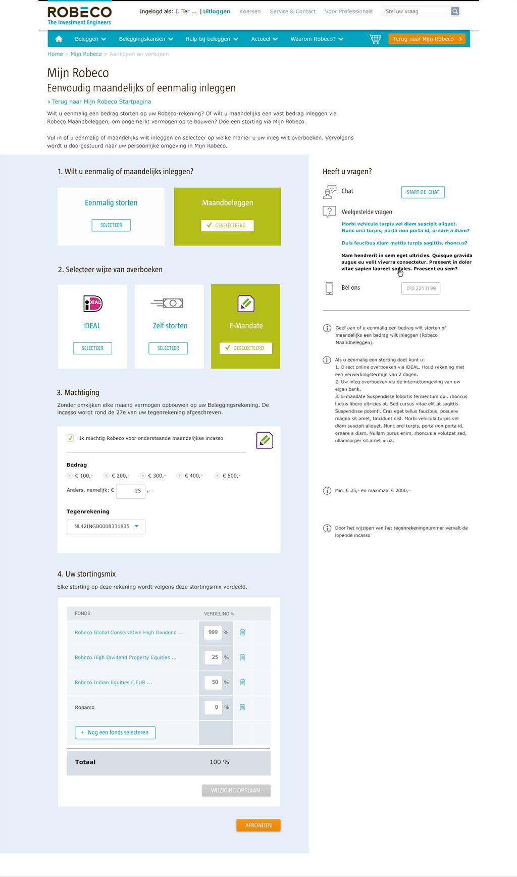 Afbeelding 6 van 6 - Re-design MijnRobeco Storten flow - Robeco web + mobile app optimalisaties