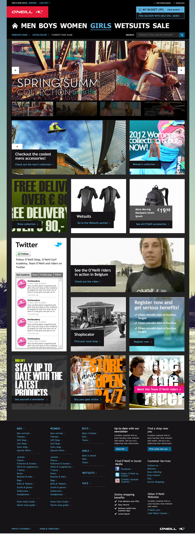 Afbeelding 1 van 7 - O'Neill global webshop re-design - Homepage en algehele stijl variant 1