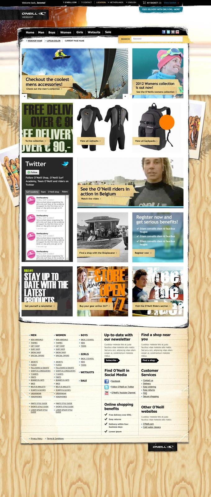Afbeelding 2 van 7 - O'Neill global webshop re-design - Homepage en algehele stijl variant 2