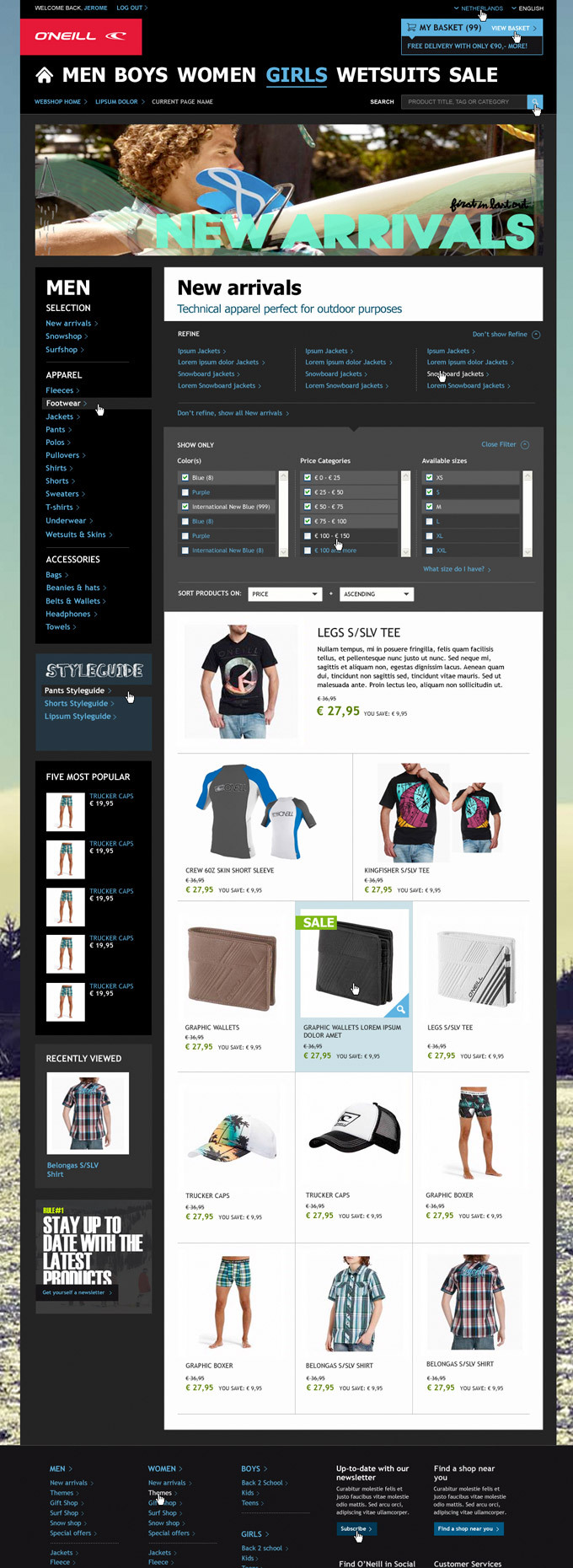 Afbeelding 4 van 7 - O'Neill global webshop re-design - Product Overview pagina