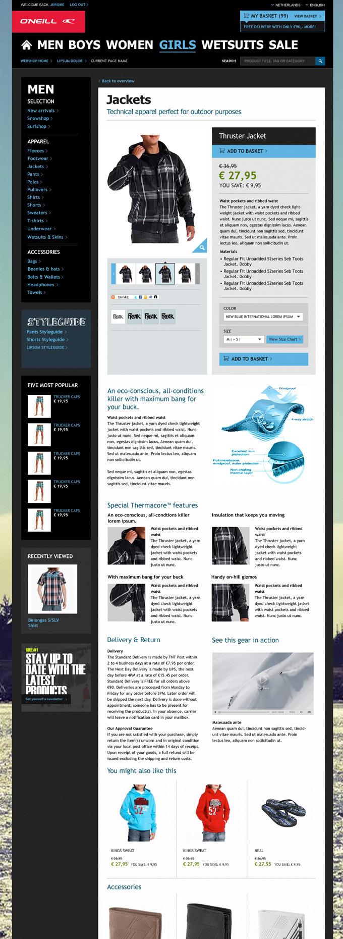 Afbeelding 5 van 7 - O'Neill global webshop re-design - Product Detail pagina