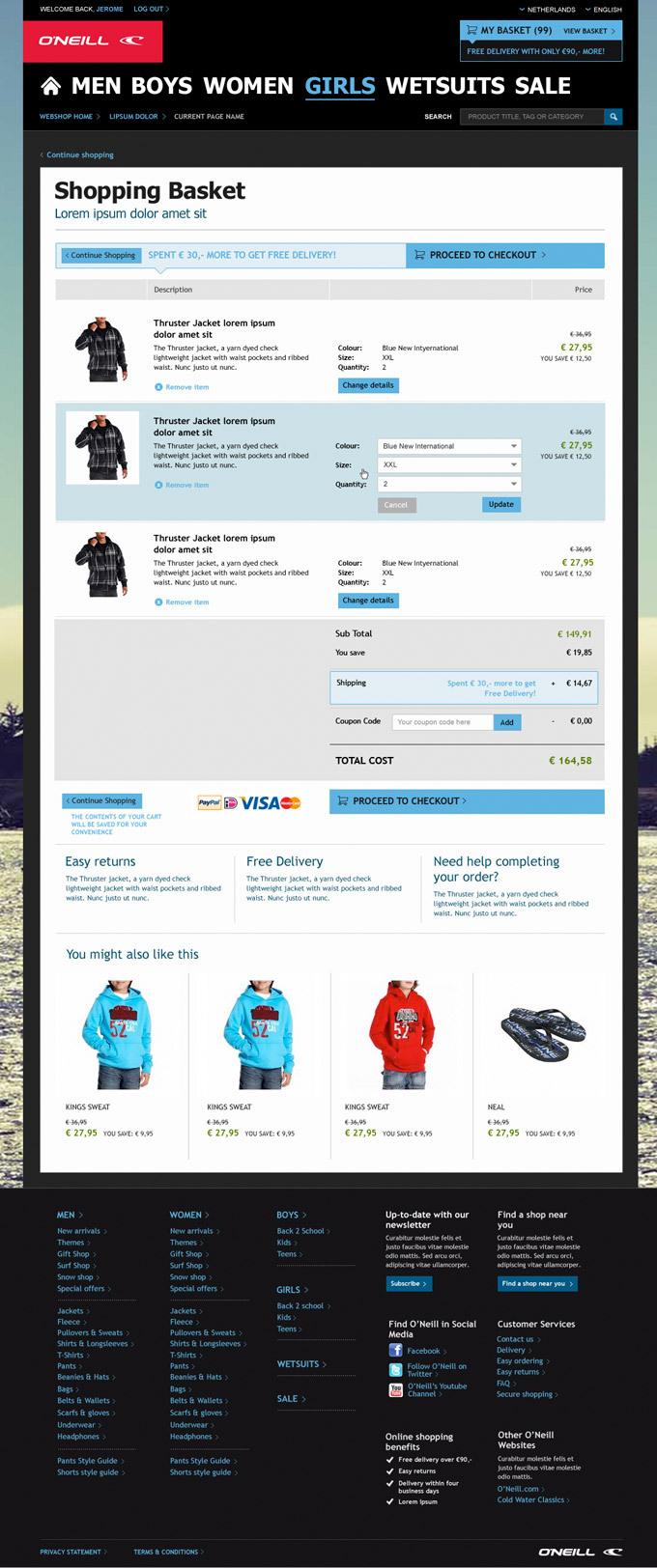 Afbeelding 6 van 7 - O'Neill global webshop re-design - Winkelwagen pagina