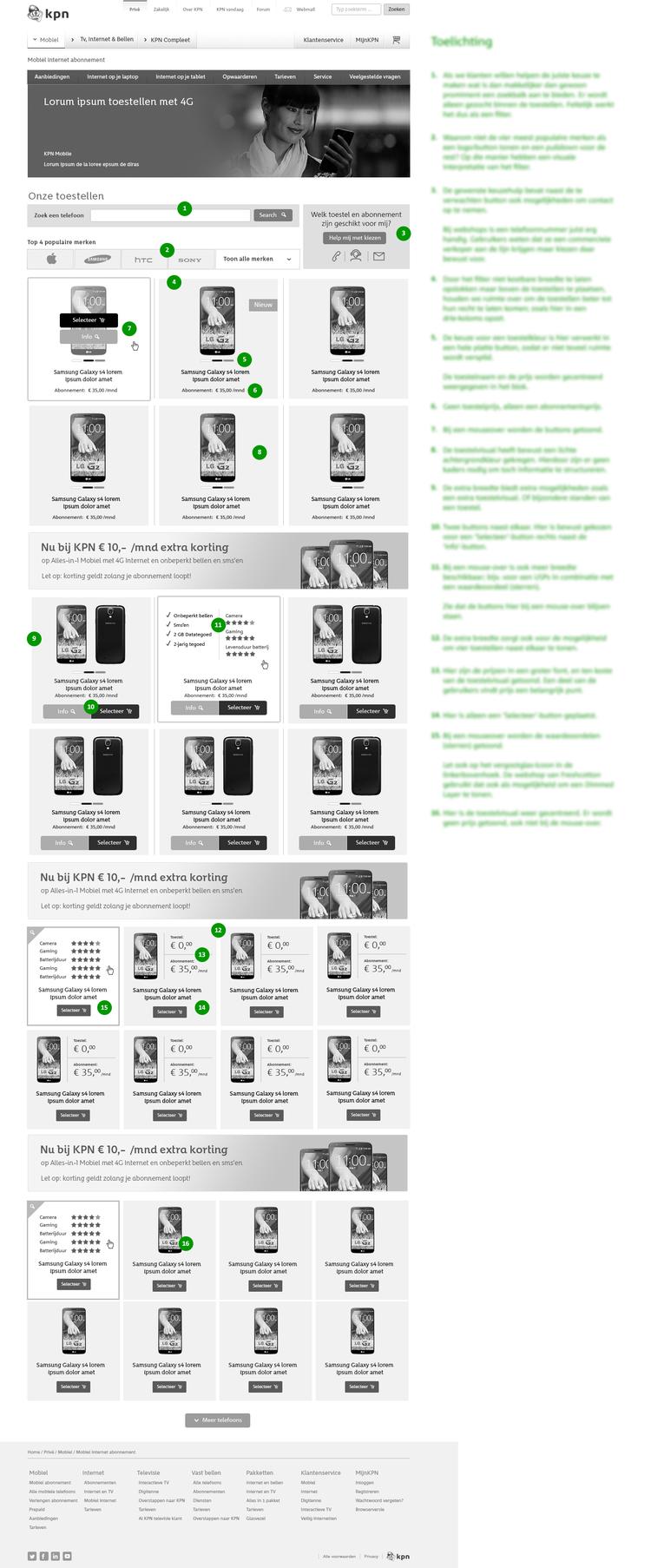 Afbeelding 2 van 9 - KPN 2007 - 2015 UX & UI Design - Product Overview pagina met toelichting van design keuzes