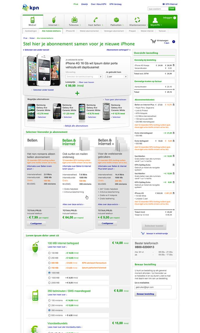 Afbeelding 3 van 9 - KPN 2007 - 2015 UX & UI Design - Product Detail pagina 2013 webshop mobiele telefoons