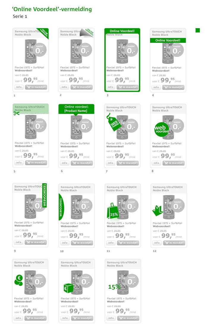 Afbeelding 7 van 9 - KPN 2007 - 2015 UX & UI Design - 2009 - Labels 'Webvoordeel' in webshop mobiele telefoons