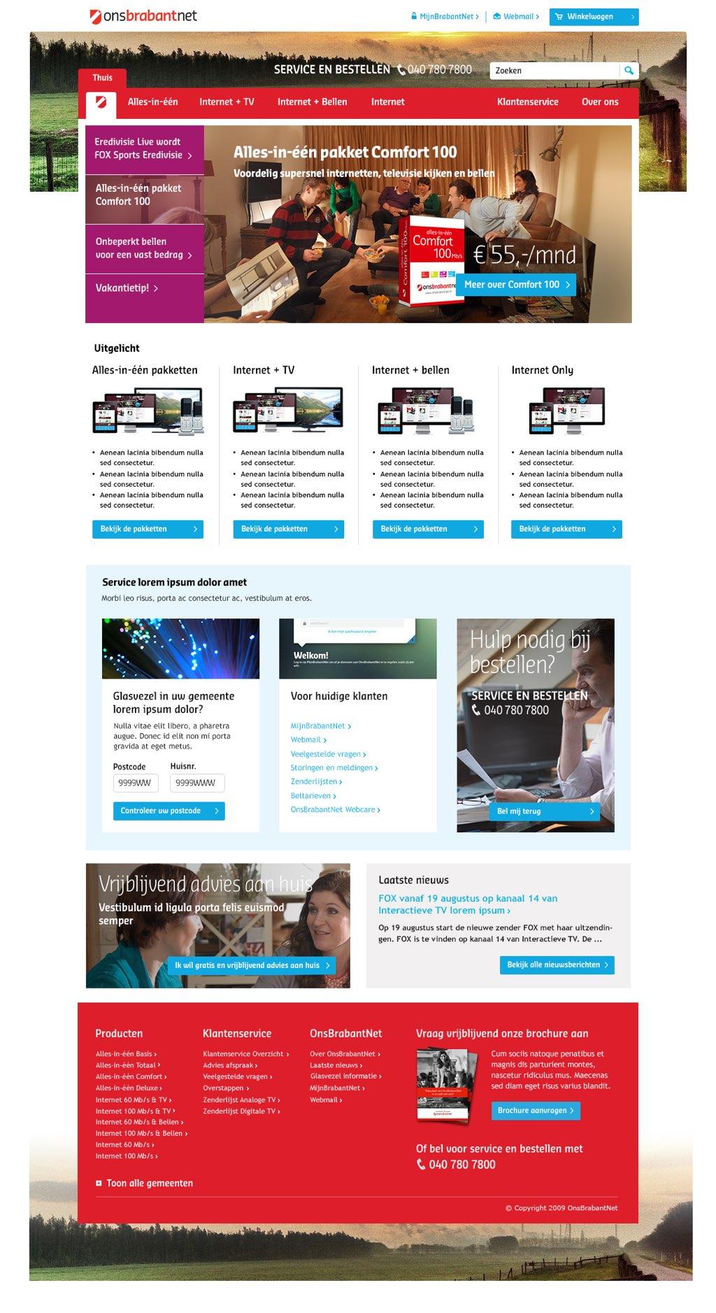 Afbeelding 1 van 11 - OnsBrabantNet re-design webshop - Homepage nieuwe stijl